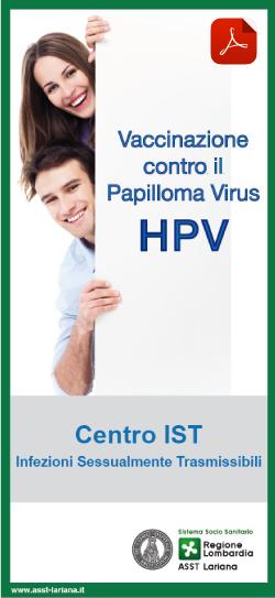 vaccinazione papilloma virus maschi regione lombardia